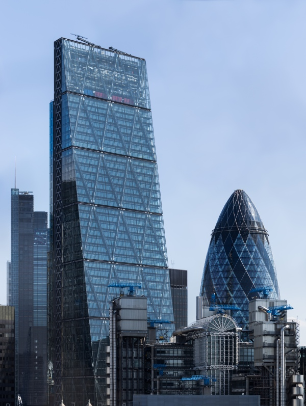 """Cheesegrater and Gherkin"""" by Colin - Own work. Licensed under CC BY-SA 4.0 via Wikimedia Commons."""