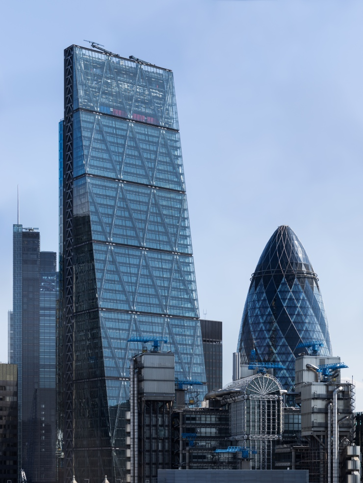 "Cheesegrater and Gherkin"" by Colin - Own work. Licensed under CC BY-SA 4.0 via Wikimedia Commons."